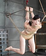Roped naked, suspended, forced to suck and fuck