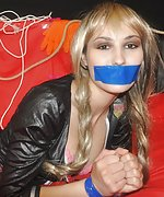 Horny slave taped, cuffed, roped, tape-gagged