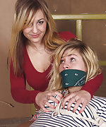 Roped, otm-gagged, teased by her girlfriend