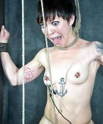 Cuffed naked, tortured with pussy clamps and crotch rope